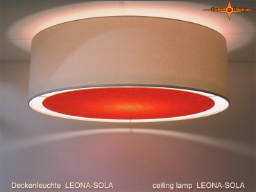 Bright ceiling lamp with orange diffuser LEONA-SOLA Ø60 cm