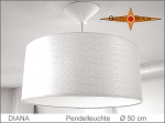 Lounge lamp DIANA Ø 50 cm, pendant lamp with diffuser and canopy, silk