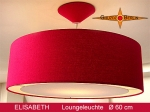 Lounge lamp ELISABETH Ø60 cm, pendant lamp with light edge and canopy, silk