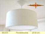 Lounge lamp BEATE Ø 50 cm, pendant lamp with light edge and canopy, silk