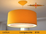 Lounge lamp LUCILA Ø 50 cm, pendant lamp with light edge and canopy, sun yellow