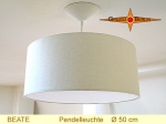 Lounge lamp BEATE Ø 50 cm, pendant lamp with diffuser and canopy, silk