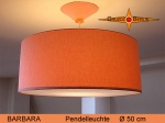 Lounge lamp BARBARA Ø 50 cm, pendant lamp with diffuser and canopy, salmon
