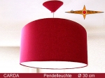 Lamp CARDA Ø 30 cm pendant lamp with diffuser and canopy bordo