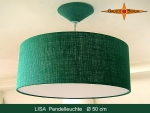 Lounge lamp LISA Ø 50 cm pendant lamp with diffuser and canopy green jute