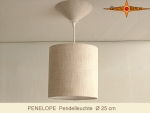 Small hanging lamp with diffuser PENELOPE natural linen D 25 cm