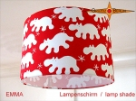 lamp shade EMMA Ø 30 cm white hippoes on red