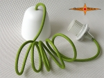 E-pendulum for lamp shades with green textile wire E27