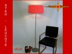Floor lamp ULLA h 155 cm with dots and flowers red