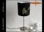 Table lamp LENORA Ø 20 cm linen with gold flowers