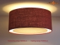 Preview: Ceiling lamp made of dark red jute FEROLA Ø50 cm with light edge diffuser - Kopie