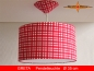 Preview: Checkered lamp red white GRETA Ø35 cm hanging lamp red white