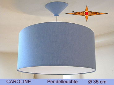 Blue pendant lamp CAROLINE Ø35 cm with diffuser blue linen