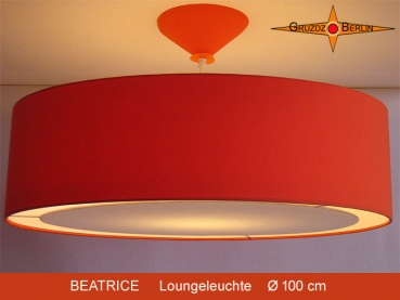 Orange linen lamp BEATRICE 100cm diffuser XXL hanging lamp