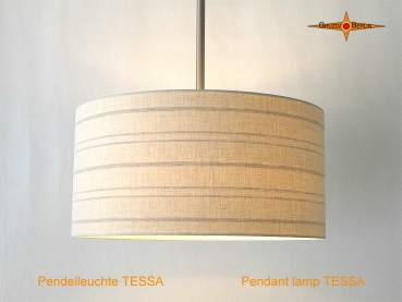 Striped hanging lamp made of linen with diffuser TESSA Ø45 cm beige striped lamp
