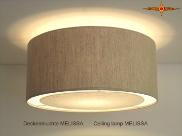 Linen ceiling lamp with diffuser MELISSA Ø60 cm Country style ceiling light