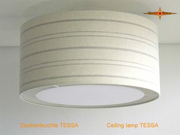 Striped ceiling lamp in linen TESSA Ø45 cm with light edge diffuser