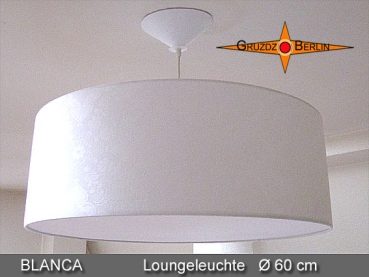 White hanging lamp made of damask BLANCA Ø60 cm with diffuser