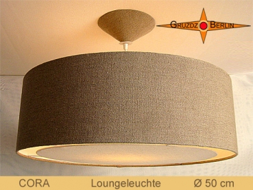 Lamp of natural linen CORA Ø50 cm Country style lamp diffuser light edge