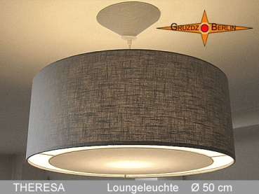 Lounge lamp THERESA Ø 50 cm pendant lamp with light edge and canopy, linen