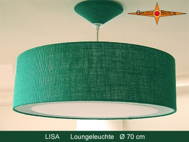 Lounge lamp LISA Ø 70 cm pendant lamp with light edge and canopy green jute