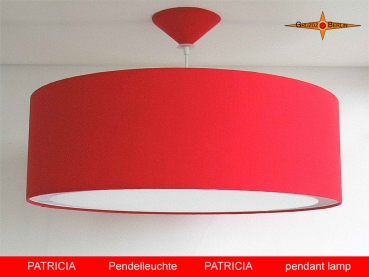 Red lamp PATRICIA Ø 50 cm of linen with light edge diffuser