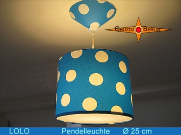 Lamp LOLO Ø 25 cm pendant lamp with diffuser and canopy dots blue