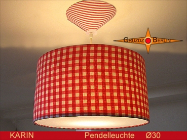 Checkered pendant lamp KARIN Ø30 cm diffuser lamp retrodesign