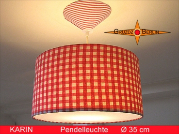Hanging lamp red white checkered KARIN Ø35 cm pendant lamp diffuser heart retrodesign