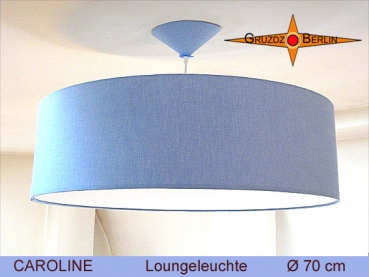 Lounge lamp blue CAROLINE Ø 70 cm pendant lamp with diffuser and canopy