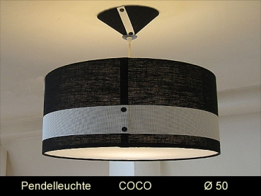 Hanging lamp black white COCO Ø50 cm Luminaire with diffuser Linen