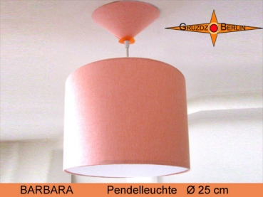 Small pendant lamp of salmon linen BARBARA Ø25 cm pendant lamp diffuser