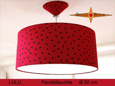 Lounge lamp LULU Ø50 cm, pendant lamp with diffuser and canopy, dots on red