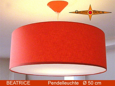 Lounge lamp BEATRICE Ø 50 cm pendant lamp with diffusor and canopy orange