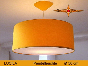 Lounge lamp LUCILA Ø 50cm, pendant lamp with diffuser and canopy, sunyellow