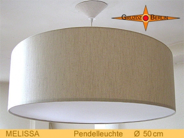 Lounge lamp MELISSA Ø 50 cm, pendant lamp with diffuser and canopy, linen