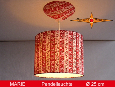 Lamp MARIE Ø 25 cm pendant lamp with diffuser and canopy stripes 70s