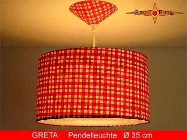 Checkered lamp red white GRETA Ø35 cm hanging lamp red white