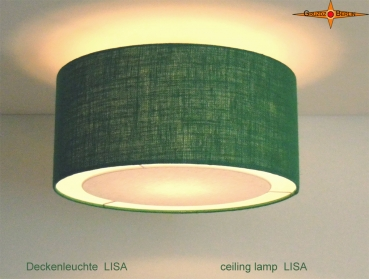 Green jute ceiling lamp LISA Ø 45 cm