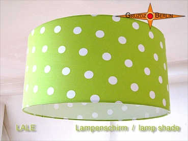 Lampshade green dots LALE Ø35 cm dots design in green white