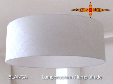 White lampshade made of damask BLANCA Ø60 cm