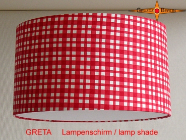 Red checked lampshade GRETA Ø35 cm children's lamp