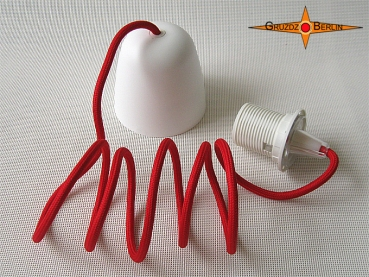 E-pendulum for lamp shades with red textile wire E27
