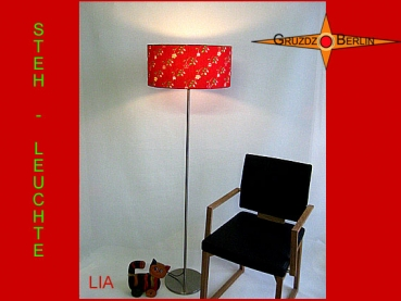 Floor lamp LIA h 155 cm red flowered and happy