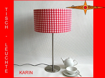 Checkered Table Lamp with Heart KARIN Table Lamp Retro Red White