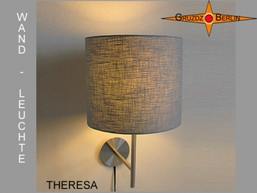 Wall lamp THERESA Ø 25 cm light grey linen classic