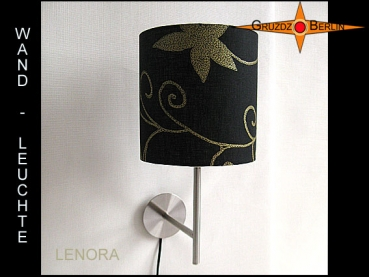 Wall lamp LENORA Ø 20 cm linen with golden flowers