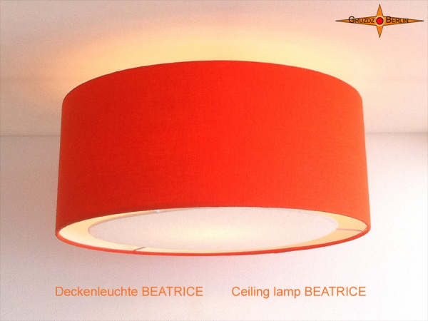 Orange ceiling lamp of linen BEATRICE Ø60 cm ceiling light with diffuser