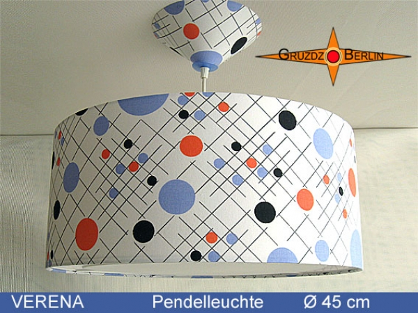 Lamp VERENA Ø 45 cm, pendant lamp with light edge and canopy, 70s