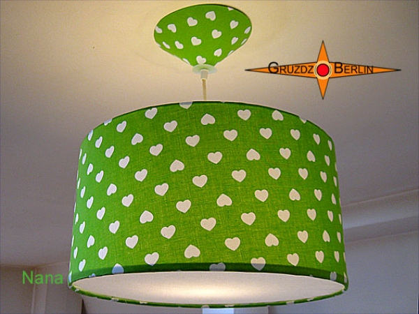 Lamp NANA Ø40cm, pendant lamp with diffuser and canopy, heart green